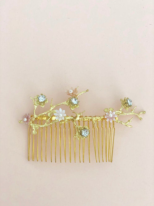 57 Gold branches with pink shell florals