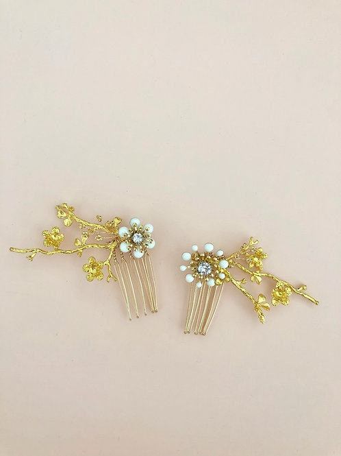 58 Gold branches mini hair comb