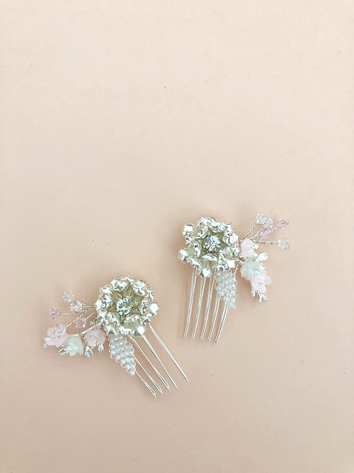 18 Silver flower mini hair comb set (Pink)