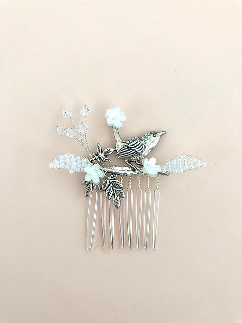 38 Silver bird hair comb (White)