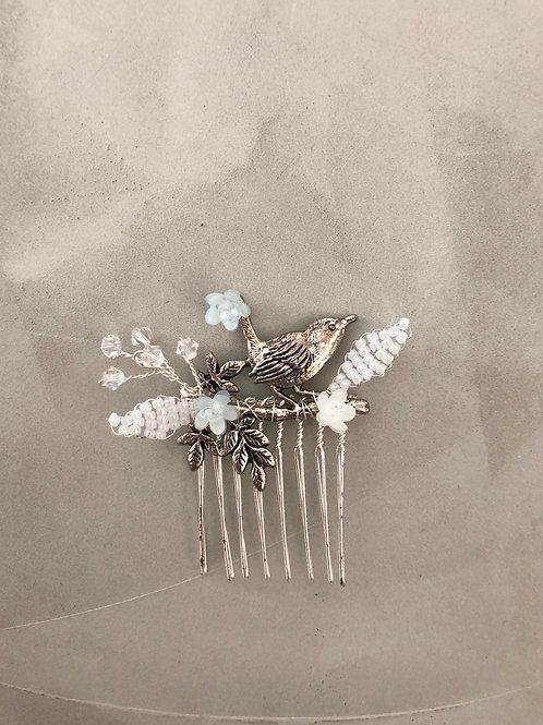 39 Silver bird hair comb (Blue)