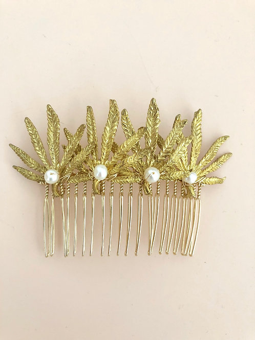 72 Gold Palm leaves hair comb