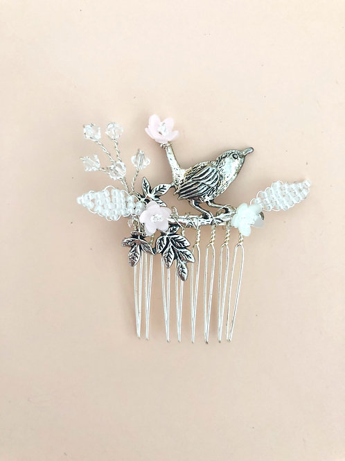 40 Silver bird hair comb (Pink)
