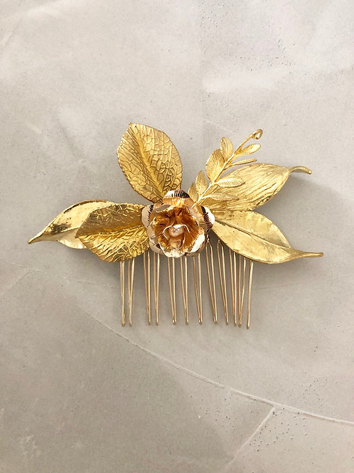 75 Gold shiny leaves hair comb
