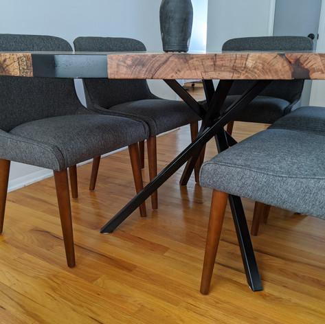 Pecan Epoxy Table with Black Metal Legs
