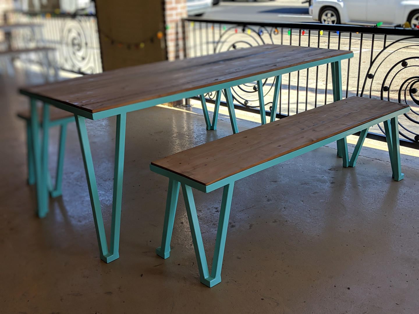 Turquoise Picnic Table & Bench