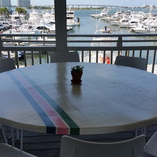 Striped Round Tables