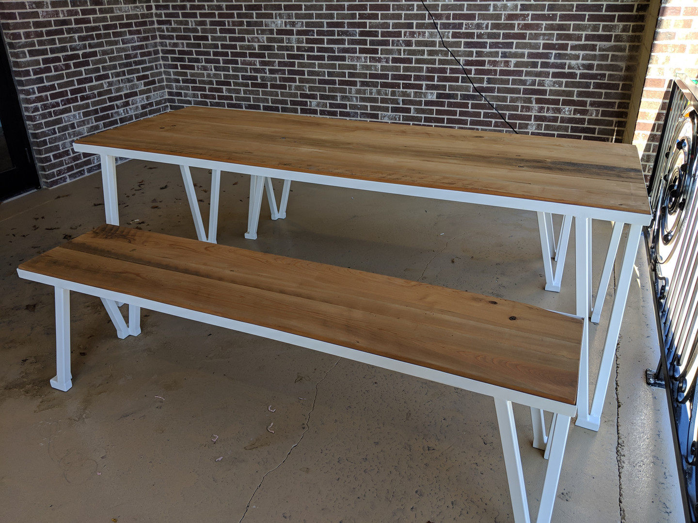 White Picnic Table & Bench