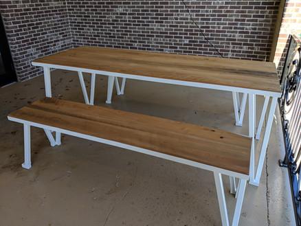 White Picnic Table & Bench