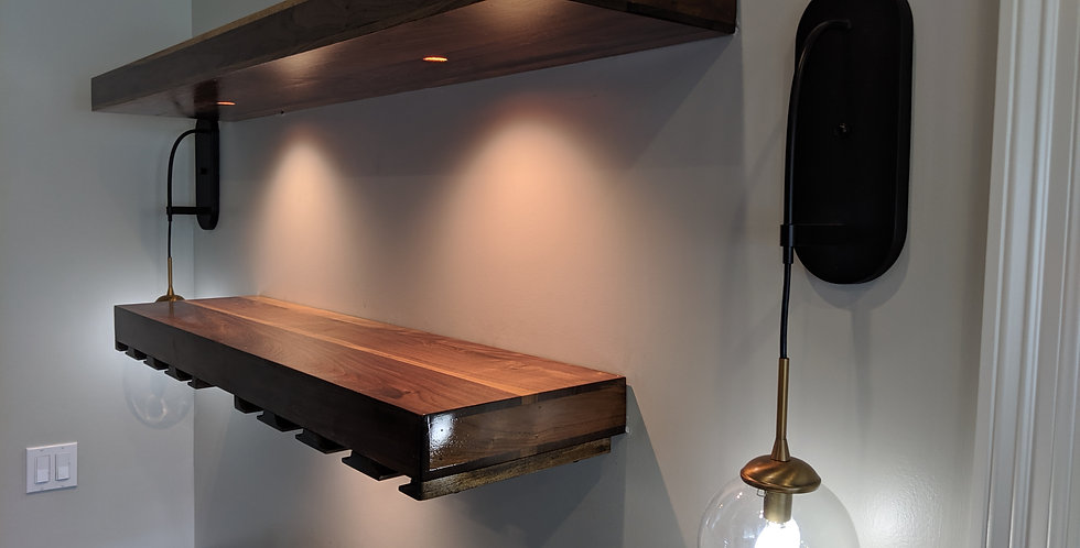 Floating Walnut Bar Shelf
