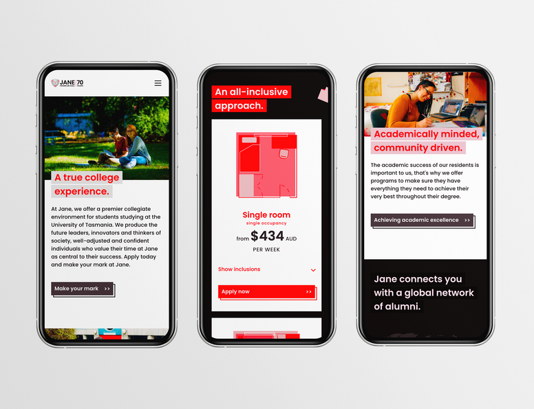 Mobile responsive UX/UI design for Jane Franklin Hall