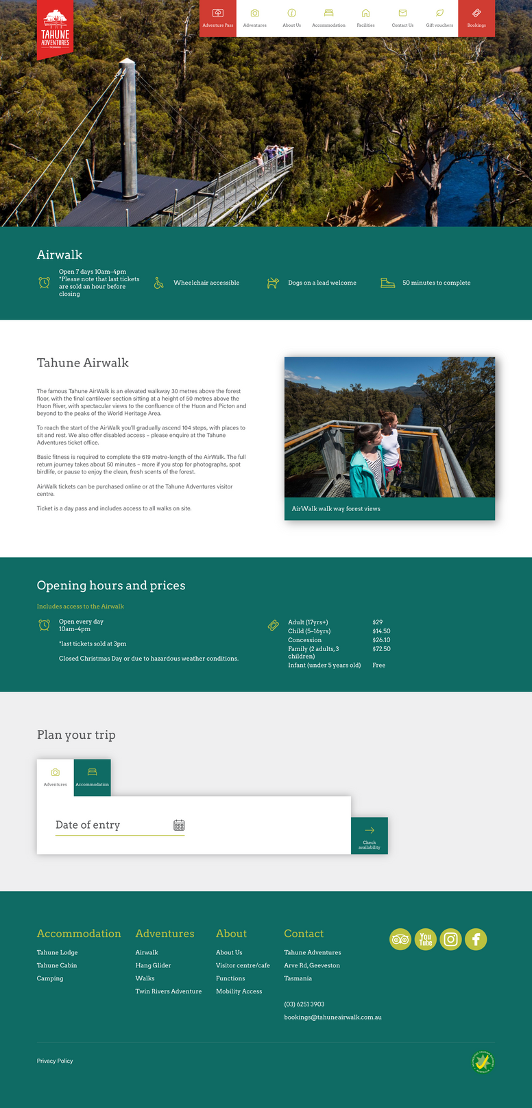 Attractions page for Tahune Adventures