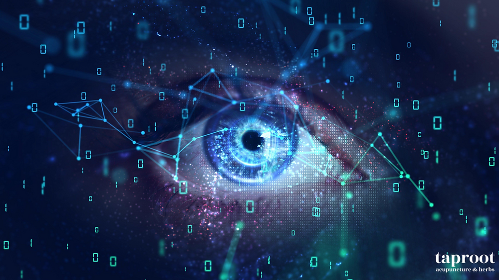 a blue eye with computer code