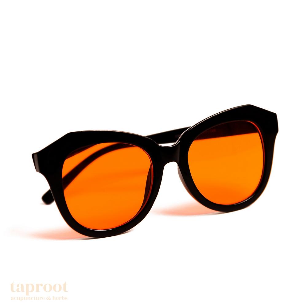 a pair of orange glasses