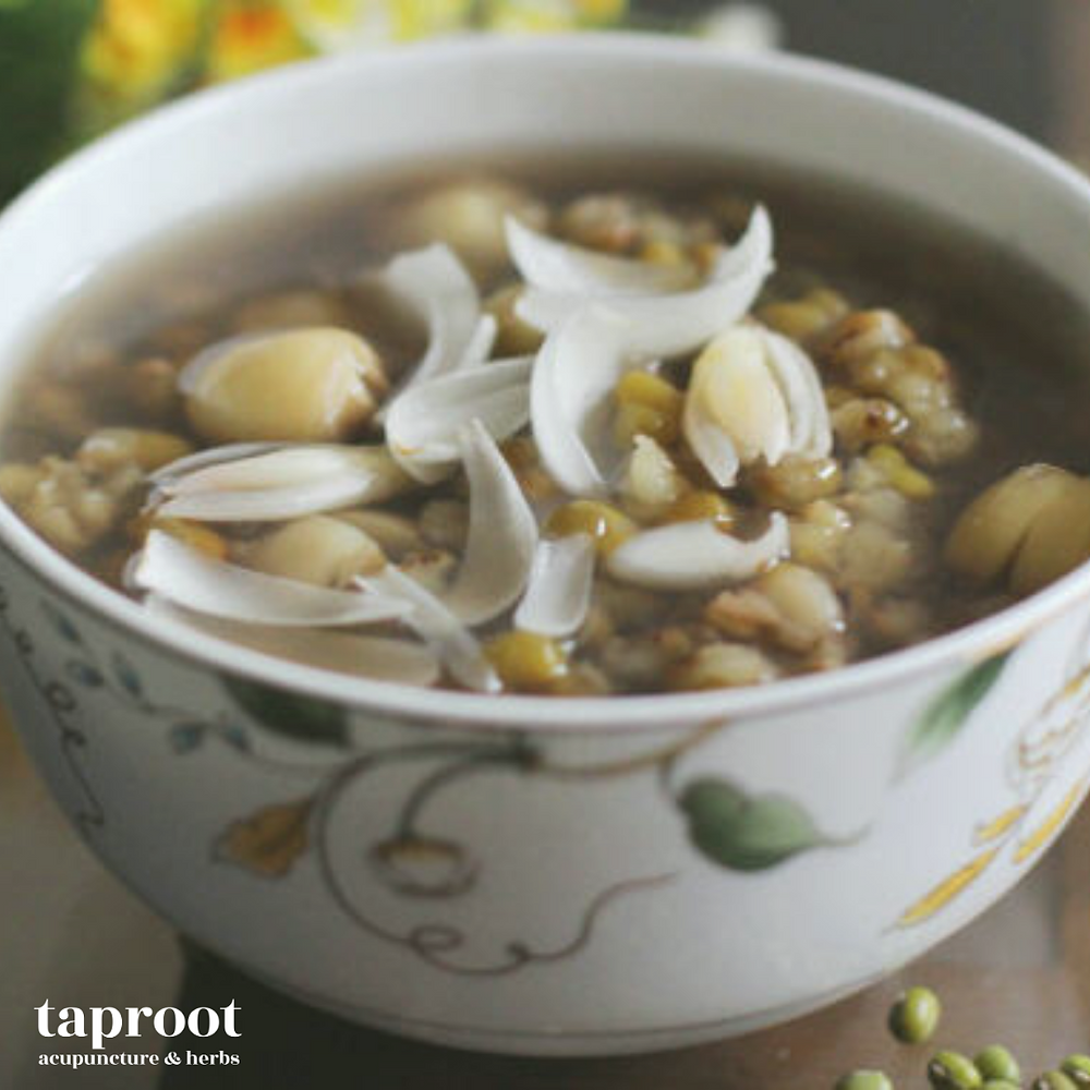 mung bean and lilly bulb congee