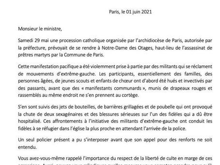 J'ai écrit au ministre de l'intérieur suite à l'agression des participants de la procession