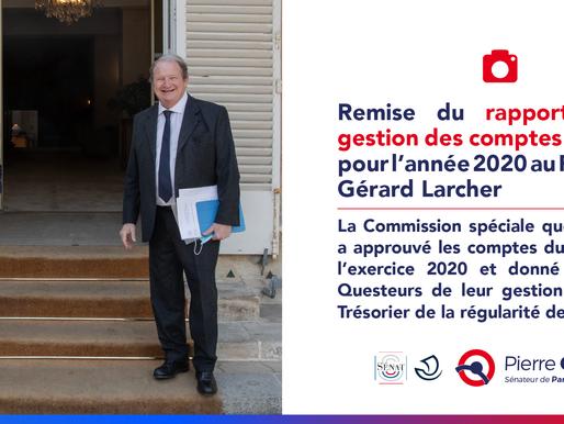 Remise du rapport sur la gestion des comptes du Sénat pour l'année 2020 au Président Gérard Larcher