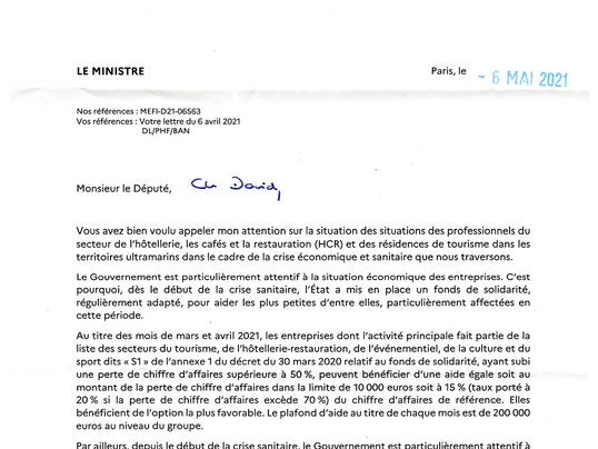"""Réponse à ma lettre sur l'extension du dispositif """"coût fixes"""" pour le secteur HCR en Outre-mer"""