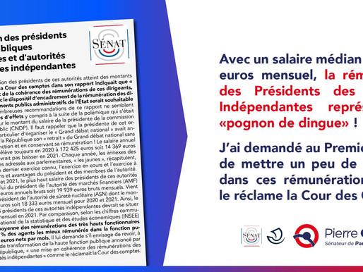 Rémunération des présidents d'autorités publiques et d'autorités administratives indépendantes