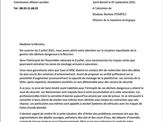 Courrier des parlementaires Réunionnais sur la gestion des déchets dangereux à la Réunion