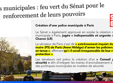 Polices municipales : feu vert du Sénat pour le renforcement de leurs pouvoirs