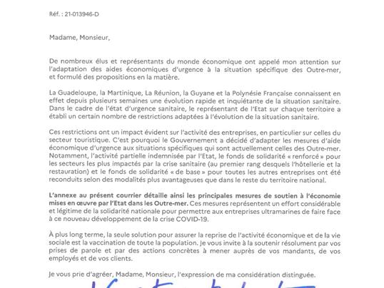 Réponse du Ministre face à la demande d'adaptation des aides économiques après le confinement d'Août