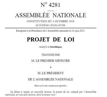 J'ai voté contre le projet de loi bioéthique