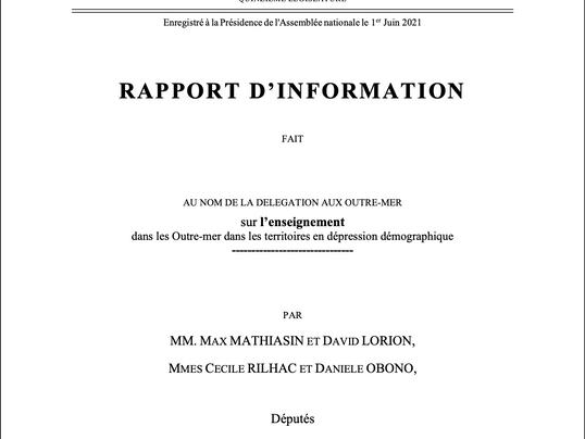 Rapport d'information sur l'enseignement dans les Outre-mer