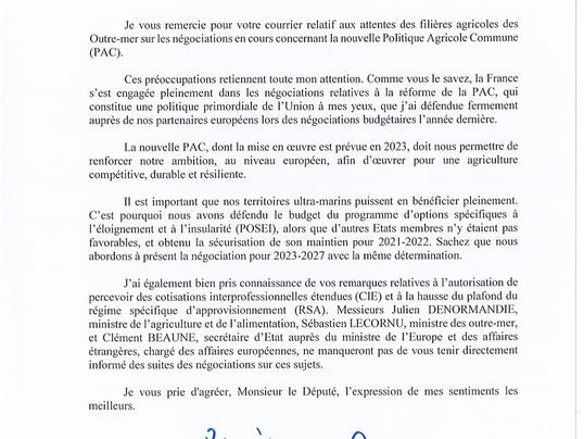 Lettre du président en réponse aux attentes des filières agricoles des Outre-mer