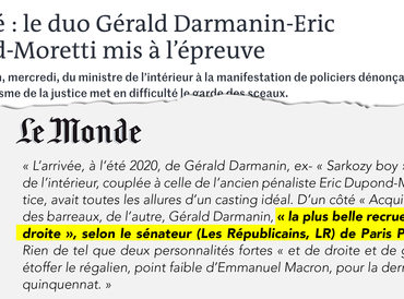 Le duo Gérald Darmanin/Eric Dupond-Moretti mis à l'épreuve