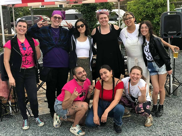Rock Camp Volunteers at the 2019 Showcase Smilig Having Fun