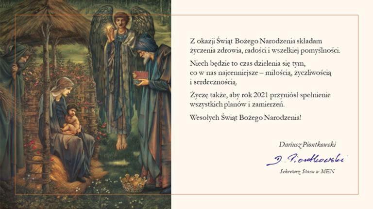 Życzenia Ministra Dariusza Piontkowskie