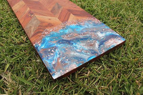 601 - Island Ocean Rectangular Food Safe Wood and Resin Serving Board