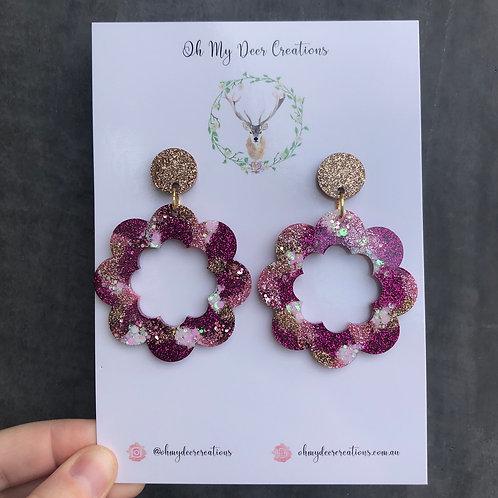 273 - Large Glitter Resin Flowers - Pink