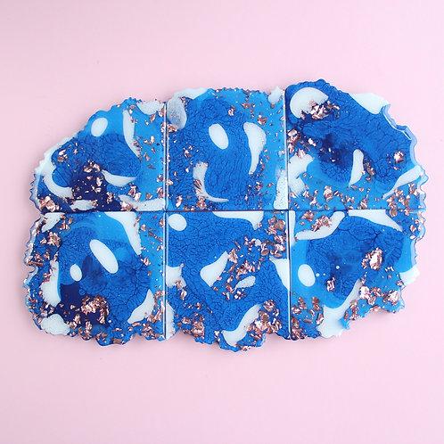 499 - Organic Gem Set of 6 Resin Coasters / Serving Platter - Food Safe