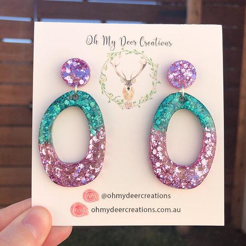 194 - Glitter Resin Green and Dusky Pink Dangles