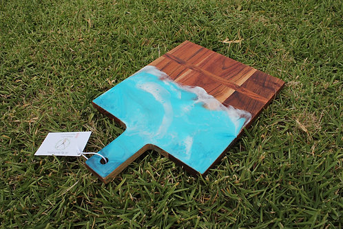 600 - Island Ocean Rectangular Food Safe Wood and Resin Serving Board