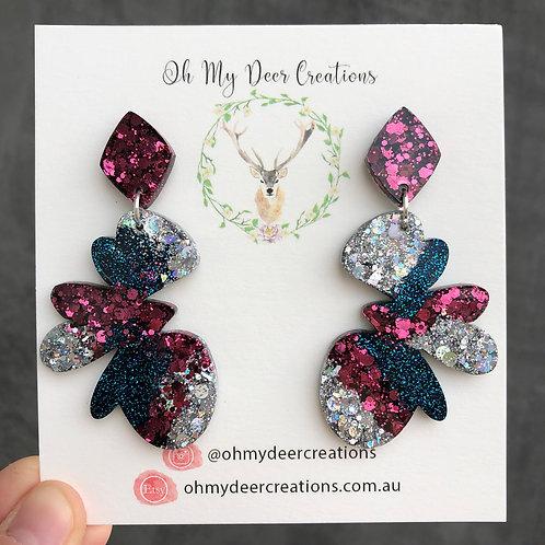 244 - Glitter Resin Glamour Butterfly Statement Dangles