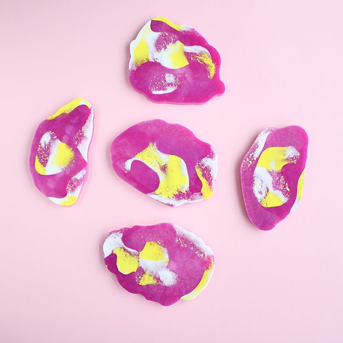 490 - Summer Pink / Purple Set of 5 Resin Coasters - Food Safe