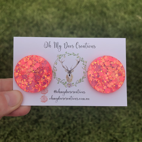 608 - Glitter Resin Statement Studs