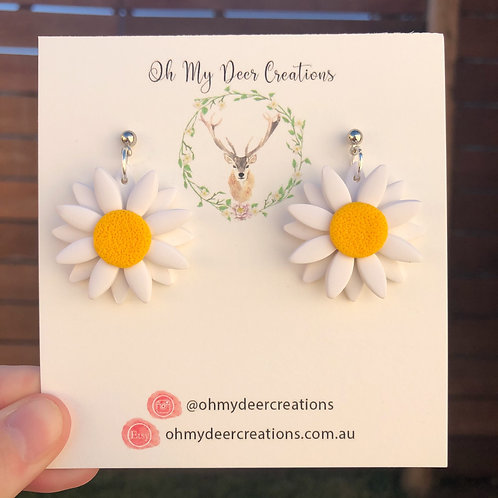 160 - Large Single Drop Two Layer Yellow Polymer Clay Daisies
