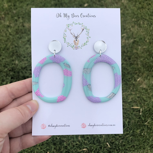 522 - Pastel Polymer Dangles with acrylic toppers