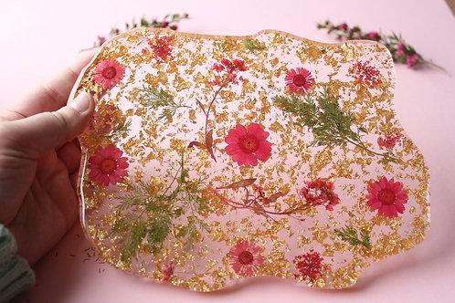 493 - Floral Rose Gold Serving / Decorative Platter - Food Safe