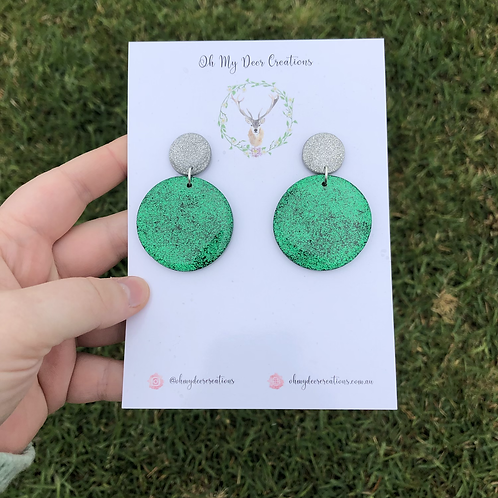441 - Christmas Green and Silver Dangles