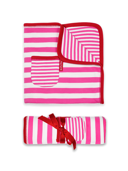 Toby Tiger Organic Pink and White Stripe Blanket
