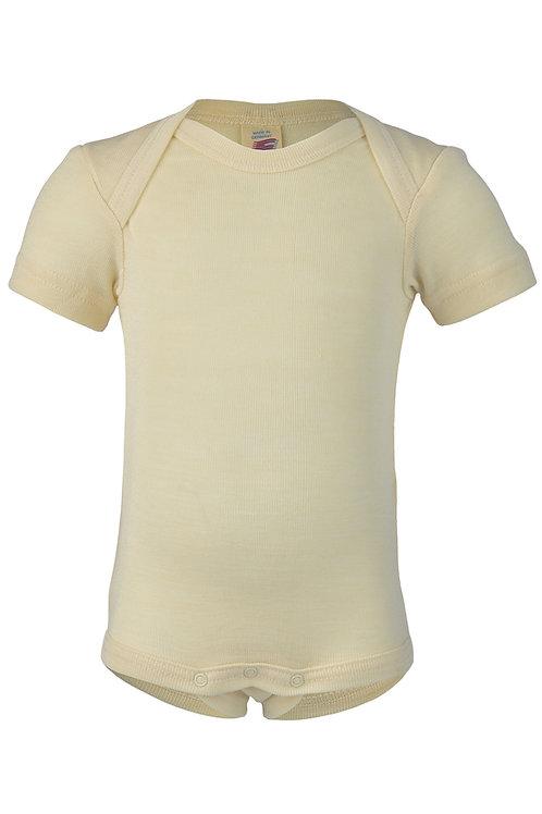 Engel short sleeved bodysuit in merino wool and silk
