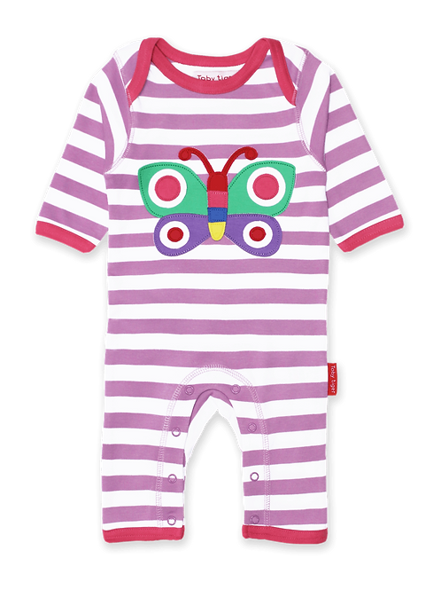 Toby Tiger Organic Butterfly Applique Sleepsuit