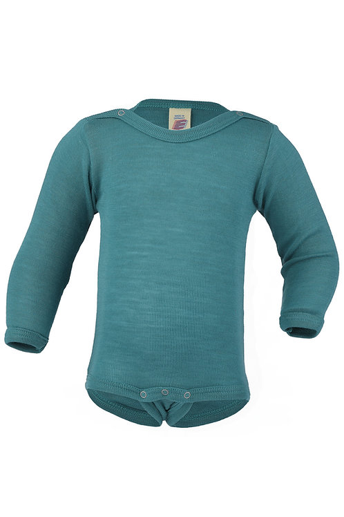 Engel long sleeve bodysuit in merino wool and silk colour