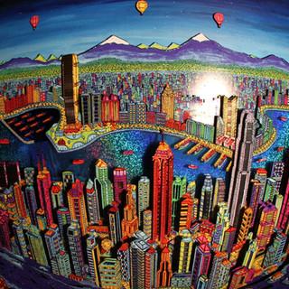 Hong Kong 3D by night (fisheye)