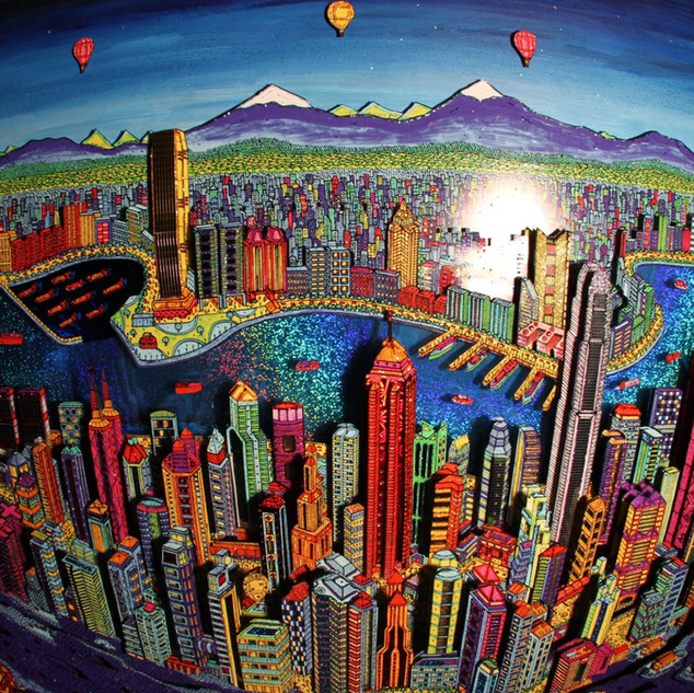 Hong Kong 3D by night (fisheye)